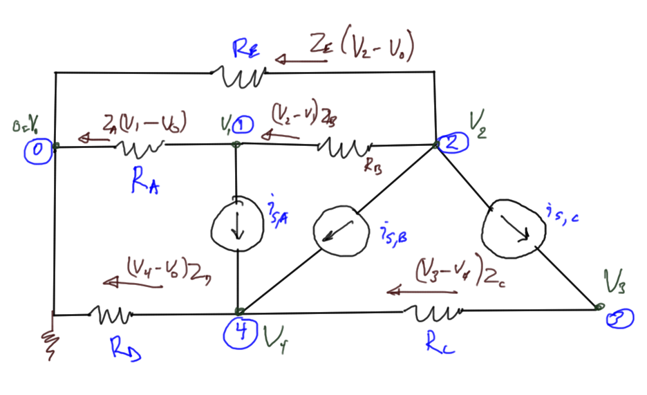 fig. 1.  Resistive circuit with current sources