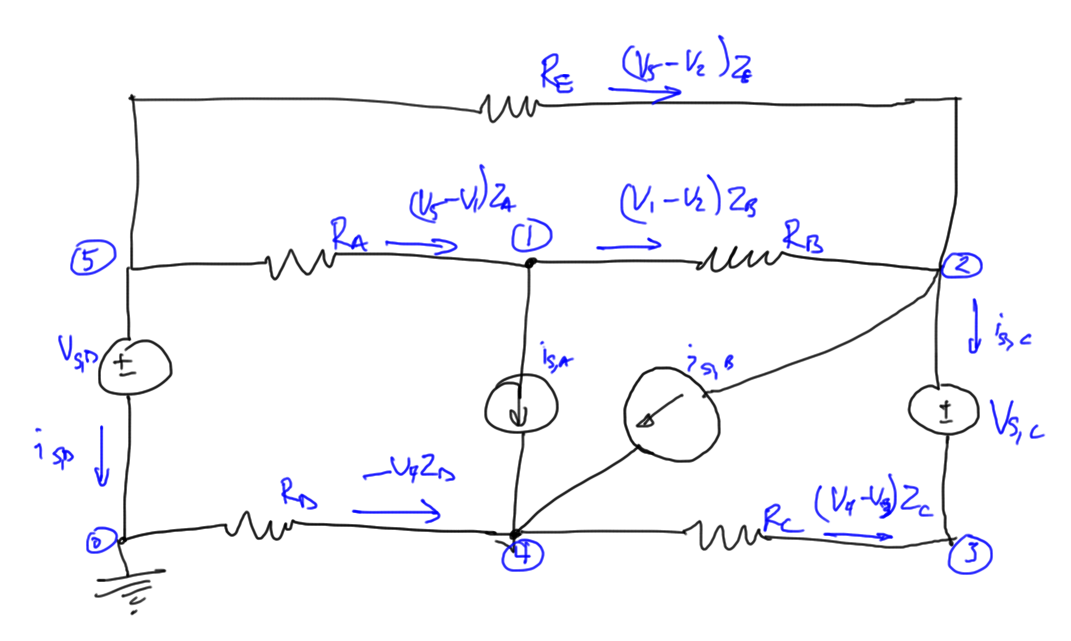 fig. 4.  Resistive circuit with current and voltage sources